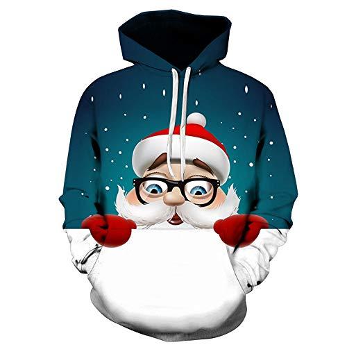 Pullover Für Herren,3D Gedruckter Weihnachtspullover Resplend Herbst Winter Sweatshirt Hoodie T-Stück Lange Ärmel Kapuzenpulli Mode Kapuzenpullover Mit Tasche