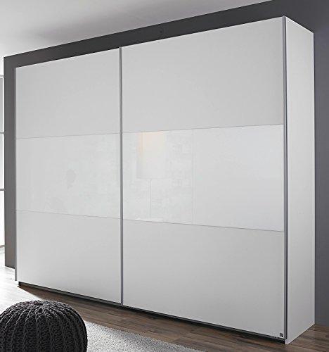 Rauch Schwebetürenschrank 2-türig alpinweiß/Glas weiß 261 x 210 x 59 cm