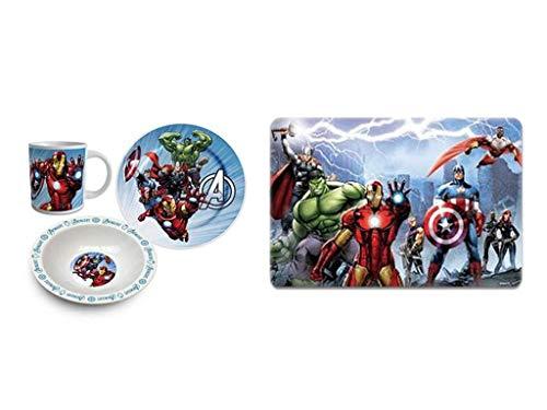 Avengers. Frühstücks-Set (2 Teller, Tasse, Platzdeckchen) (Motiv 2)