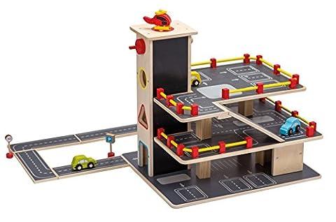 Jouéco Kinder-Garage Auto-Spielgarage Parkhaus mit 3 Park-ebenen und 3 Autos 1 Helikopter Verkehrsschilder Straßenplatten 20-teilig aus (Holzspielzeug Parkhaus)