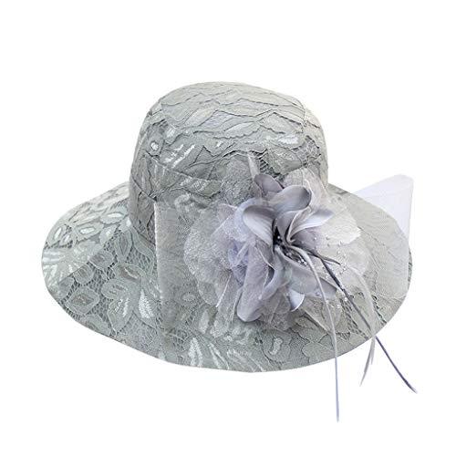 rby Hüte Sommer Hut Schirmmützen Damen Sommerhut Elegante Sonnenhüte Blumen Hut für Britische Kirche Hochzeit Vintage Party Urlaub ()