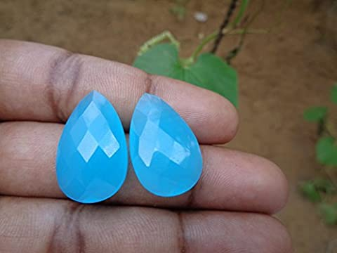 Faceted Sky Blue Chalcedony Teardrop Briolette, 2 Stones Listing, Jewelry Making Supplies Wholesale