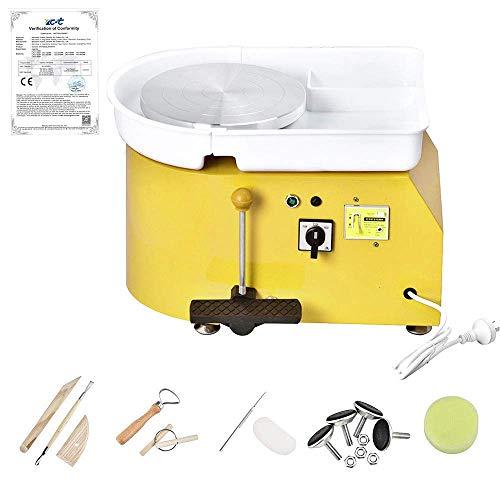 S SMAUTOP Töpferscheibe 25 cm Elektrische Keramik Maschine Grün Keramik Werfen Werkzeug Tonformwerkzeug 350 Watt Keramik Maschine CE Zertifizierung (Drücken Das Pedal
