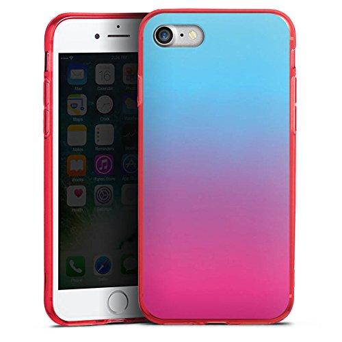 Apple iPhone 8 Silikon Hülle Case Schutzhülle Farbverlauf Türkis Pink Silikon Colour Case rot