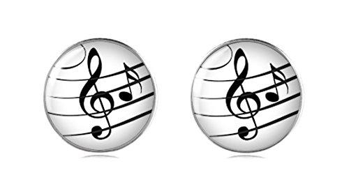 terling Silber Musikalische Note Ohrstecker 12 mm Handgemachte Ohrringe für Damen und Mädchen perfektes Geschenk oder für Party (Wolf Hoodie Mit Ohren Für Männer)