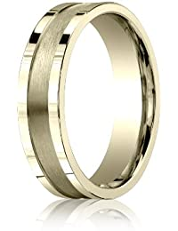 18ct Yellow Gold, 6mm Comfort Satin Center Squared Band (sz H to Z5)