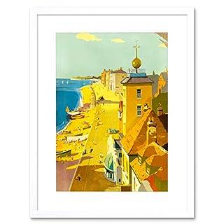 VINTAGE TRAVEL ILLUSTRATION BEACH WALMER BRITISH FRAMED ART PRINT B12X11910