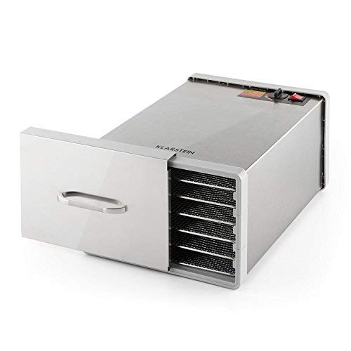 Klarstein Fruit Jerky Pro 6 • apparecchio disidratatore • essiccatore • 630 Watt • 6 piani • rimovibili singolarmente • Temperatura regolabile • 0,65 m² superficie secca • Ventilatore • argento