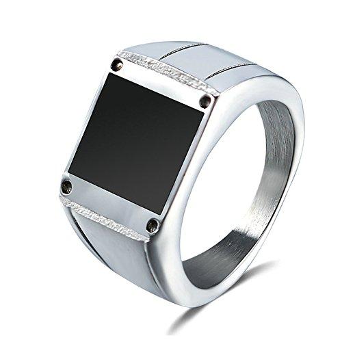 AnazoZ Schmuck Herren-Ring Titan Stahl Punk Glatt Poliert Ringe für Männer, Breite 12mm Schwarz Größe 65 (20.7)