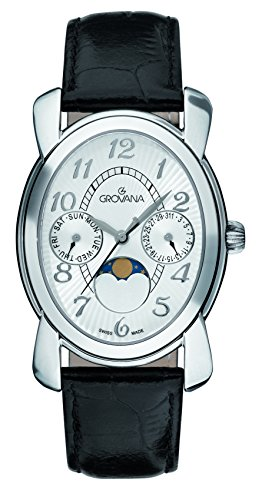 GROVANA 4406.1532 unisex quartz Watch with silver Dial analogue Display and black leather Strap 4406.1532