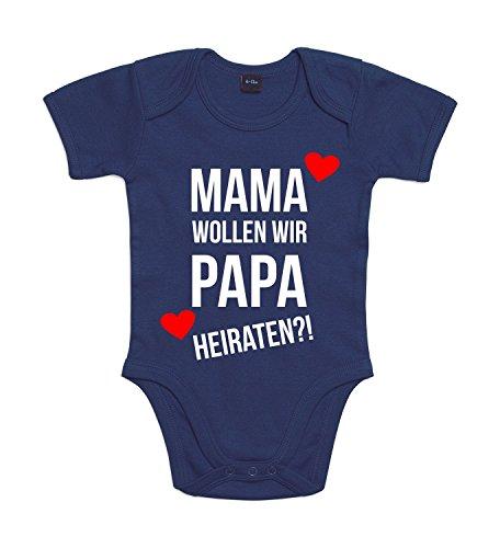 Baby Body Heiratsantrag Für Jungen und Mädchen mit Motiv Spruch Mama Wollen Wir Papa Heiraten in 10 erhältlich Nautical Navy 3-6 Monate
