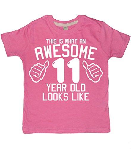 ome 11Jahre alt aussieht, Bubblegum Pink Mädchen 11. Geburtstag Shirt in Größe 12-13Jahre mit Weiß Glitzer Print Gr. One Size, Bubblegum pink ()