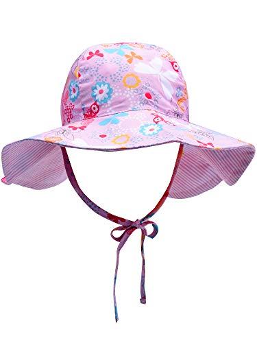 nkind Sommer Eimer Hut Kind Breiter Krempe Sonnenschutz Hut Kinder Strand Bademode Eimer Kappe mit Kinnriemen (Rosa, 3-7 Jahre) ()