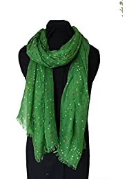 Pamper Yourself Now Bright Green With Multi coloured Dots Scarf/Wrap