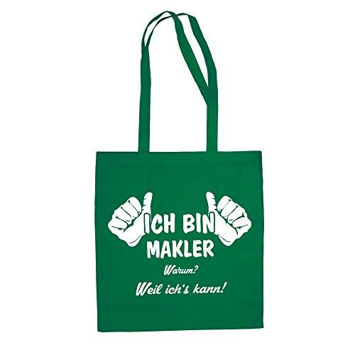 Geschenk Makler - Ich bin Makler Jutebeutel Baumwolltasche schwarz-apfelgrün