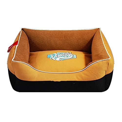 Mzdpp Luxus Leinwand Quadrat Haustier Bett Hundematte Katzenstreu Weiches Kissen Gelbe Nähte 74X94 cm - Gelbe Quadrat Kissen