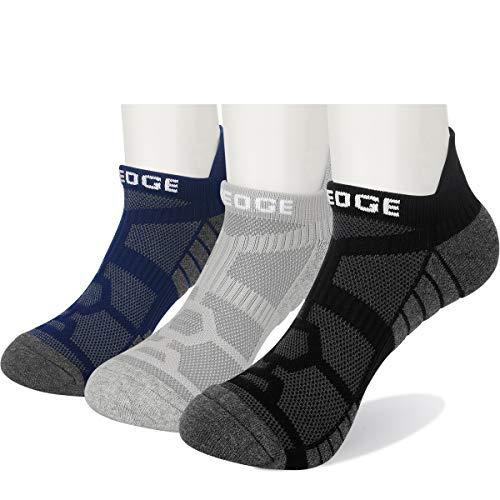 YUEDGE 3 Paar Unisex No Show Sport Sneakersocken Running-Socken für Herren Damen (Herren 43,5-46,5/Damen 41-44 EU Größe, Schwarz/Grau/Blau) (Gepolsterte Socken No-show)
