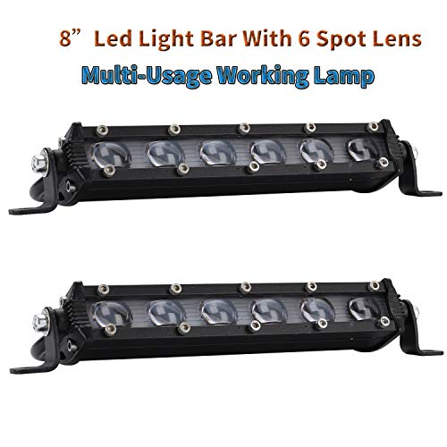 Coppia 8' 60W 6000LM LED Light Bar COB LED Bar Anti Fog Bulbo da lavoro Led Bar 4x4 LED Lens Faro Off-Road 4 Ruote Drive SUV Moto Proiettore Led da esterno Garage Lampada da giardino IP65