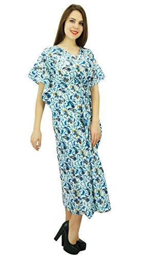 Phagun Paisley Printed Cotton Kaftan Longue Maxi Vêtements Caftan Nuit Women Dress Blanc et Bleu
