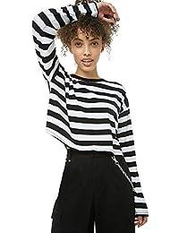 Hffan Damen Mädchen Kurzer Absatz Sweatshirts Casual Pullover Elegant Langarmshirt Rundhals Shirt Top Oberteile Bluse Langarm Freizeithemd Gestreift Damenhemd