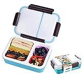 OldPAPA Scatole di Pranzo, 2 Compartimento Bento Box, Detachtable Contenitore di alimento, a Tenuta, cassaforte di a microonde, per Gli Adulti al Lavoro, Figli a Scuola(Blu)