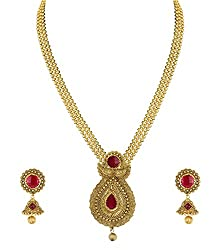 Zaveri Pearls Gold Non-Precious Metal Necklace Earrings Set For Women