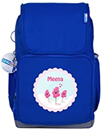UniQBees Personalised School Bag With Name (Smart Kids Large School Backpack-Blue-Candy Floss)