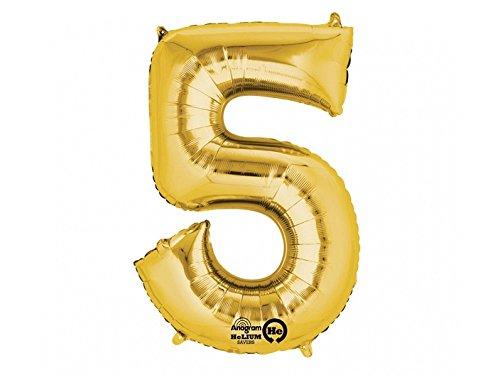 SiDeSo® 1 Folienballon XXL GOLD Heliumgeeignet Party Geburtstag Jahrestag Hochzeitstag Jubiläum Zahlenluftballon Luftballon Zahl (Zahl 5)