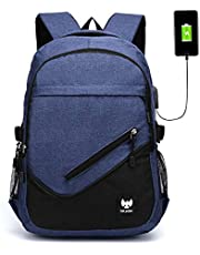Fur Jaden Navy Casual Backpack with USB Charging Port and 15.6 Inch Laptop Pocket