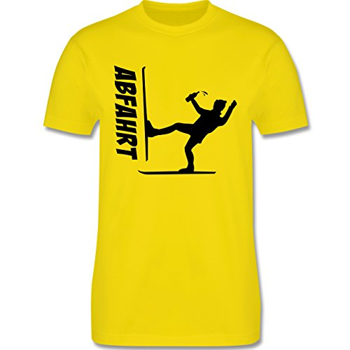 Après Ski - Ski Abfahrt - Herren Premium T-Shirt Lemon Gelb