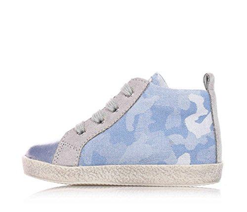 FALCOTTO NATURINO - Grau-hellblaue Schuhe mit Schnürsenkel aus Leder und Stoff, baby jungen, kind Blau