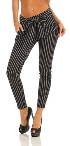 Fashion4Young 5751 Damen Hose Slim-Fit Bundfaltenhose Business Damenhose Gestreift Streifen (schwarz, S-34)