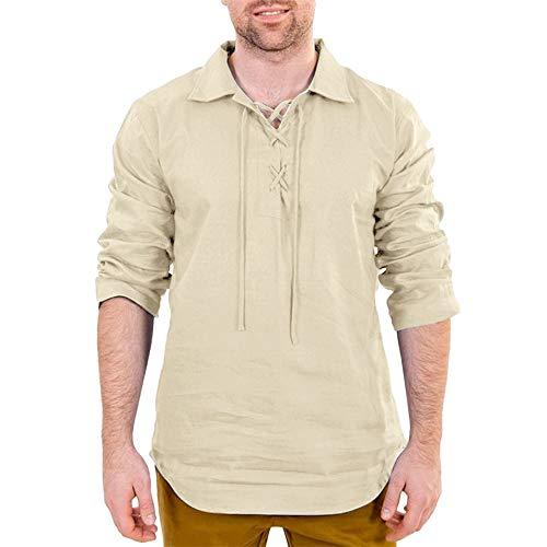 Beonzale Herren Baggy Baumwolle Leinen Solide Langarm Drawsting Retro T Shirts Tops Blusen Langarm Mantel Top White Linen Cropped Pants
