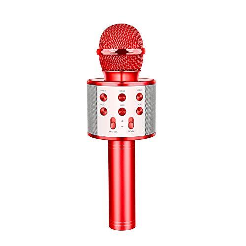 Dreamingbox Karaoke Mikrofon, Drahtloses Bluetooth Mikrofon für Kinder und Erwachsene zu Hause KTV/Party, Tragbares Handmikrofon mit Lautsprecher für Android/IOS/PC/Laptop (Rot)