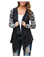 Women Knit Cardigan Jacket Boho Hippie Patterned Geometric Blazer Casual Spring Fall Asymmetric Baggy Long Sleeve Tunic Tops Coat Outwear Thin Kimono - Landove