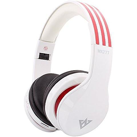 OVLENG MX777 Over ear Stereo Wireless con fascia per cuffie Bluetooth 4,0, EDR, pieghevole, FM, SD-Cuffie con microfono integrato, per PC, computer portatili, telefoni cellulari, Sony PlayStation 3, per console da gioco Bluetooth abilitato