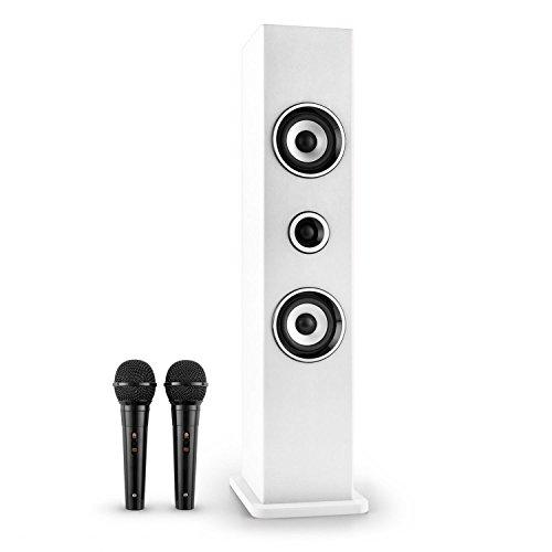 auna Karaboom • Kinder Karaoke Anlage • Karaoke Player • Karaoke Set • Turmlautsprecher • zwei Breitbandlautsprecher • Bassreflex • Bluetooth • 2 x dynamisches Mikrofon • separat regelbar • USB-Port • MP3-fähig • AUX-IN • Mikrofonhalterung • weiß