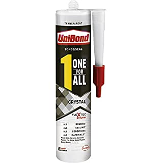 UniBond One For All Crystal Adhesive & Sealant / Transparent, Strong Adhesion, All-Purpose Glue, Solvent Free / Bond, Seal, Mount, Fill / 1x 290g