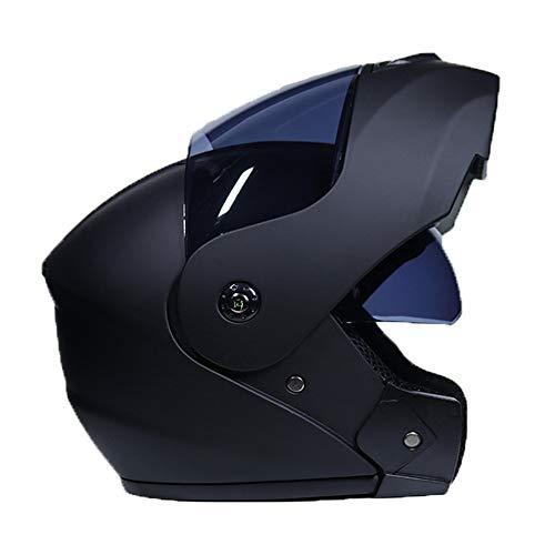 FAFC Casco modulare Professionale per Moto da Corsa, con Apertura Integrale, Apertura Integrale, con Certificazione DOT, per Uomini, Donne, Adulti e Ragazzi, Nero, Medium