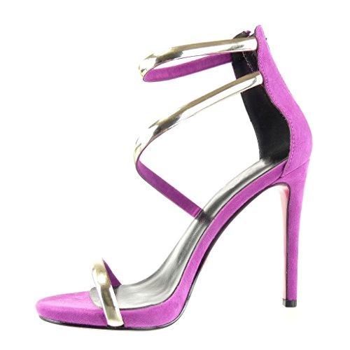 Angkorly - Scarpe Moda scarpe decollete sandali stiletto sexy elegante donna tanga lucide Tacco Stiletto alto 11 CM Viola