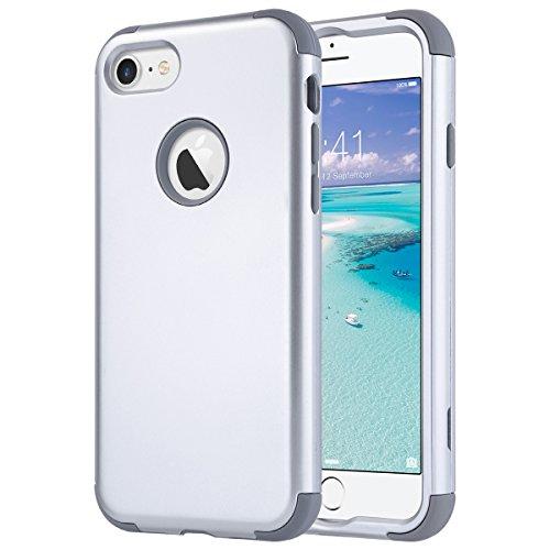 ULAK iPhone 7 hülle, iPhone 7 hülle Abdeckung Luxus 3in1 Hybrid High Impact Weiche Silikon Shockproof Hard PC Fall Deckung für iPhone 7 4,7 Zoll (Silber + Grau) - Hard Skin Iphone Fall