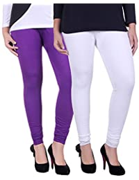 Belmarsh Cotton Blend Churidar Leggings - Pack of 2 (WHT_PRPL)