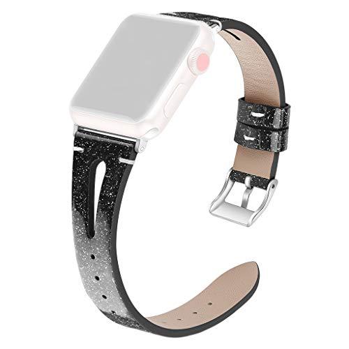 SHSH Ersatz-Lederarmband für Apple Watch 4, 3, 2, 1, Denim-Armband für iWatch, 42/44 mm, schwarz