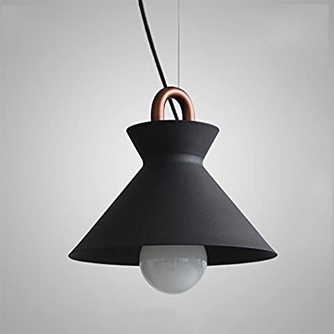 GJY Iron Coil Chandelier, Romantic Industrial Wind Simple Restaurant Light Retro Bar Counter Bedroom Light Cafe Chandelier,Black-25*22CM