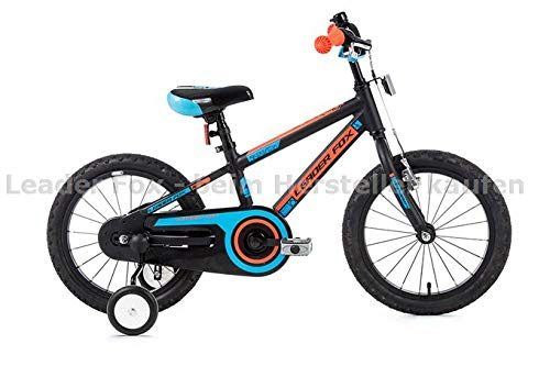 16 Zoll leichtes Aluminium Kinder Fahrrad Leader Fox Santo MTB schwarz matt blau