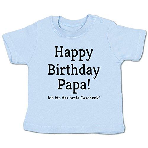 Shirtracer Anlässe Baby - Happy Birthday Papa! Ich Bin Das Beste Geschenk! - 6-12 Monate - Babyblau - BZ02 - Babyshirt Kurzarm (Tun Daddy Ich)