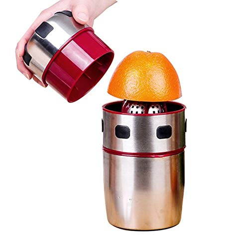 Mandarinen-mandel (ZXCV Edelstahl-Orangenpresse Tragbare manuelle Deckelrotation Zitruspresse Zitronenorangen-Mandarinen-Saftpresse,Silver)