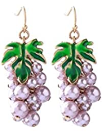 88b9373d92e5 Emorias 1Pair Pendientes de plata Moda Uva de fruta púrpura cuelgan los  pendientes del gancho de