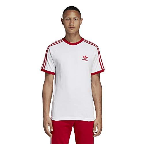 Adidas 3-stripes t-shirt, maglietta uomo, bianco/power rosso, m