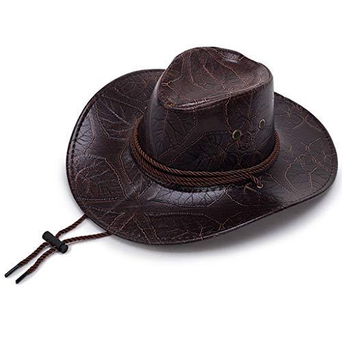 LXRZLS Gran Sombrero de Cuero Estampado Vaquero Sombrero para el Sol Visera Solar Cuerda Ajustable para Viento (Color : Coffee)